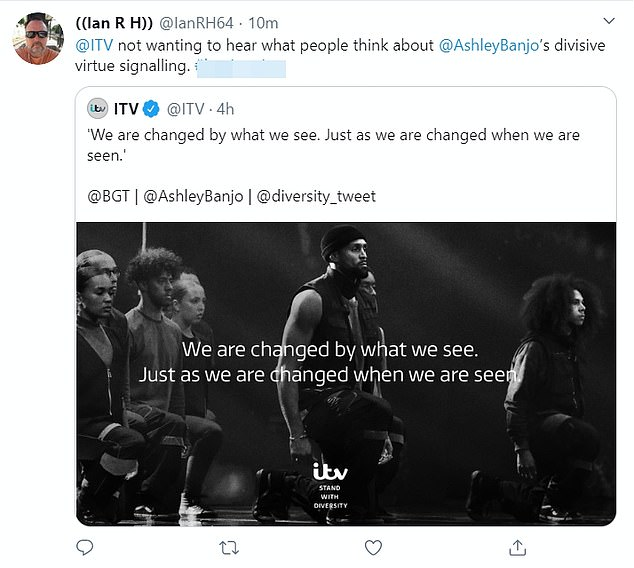 ITV turned off replies to its announcement but Twitter users voiced their opposition to the advert, branding the broadcaster a 'disgrace'