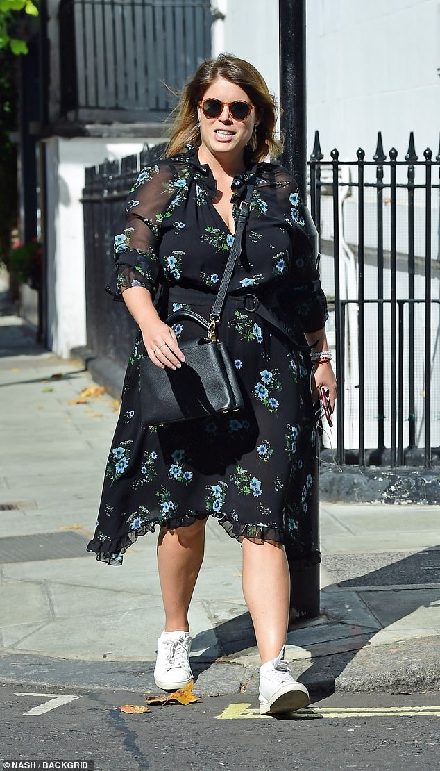 Eugenie married brand ambassador Jack Brooksbank in 2018 at St George's Chapel in Windsor. She is pictured in west London today