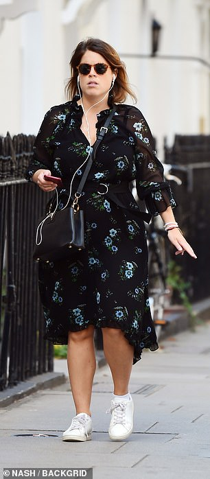 The outing comes after Princess Eugenie (pictured today) joined her sister Princess Beatrice for an emotional video call with an award-winning fundraiser, who admitted her charitable efforts make her 'feel closer' to her grandson after he died from cancer