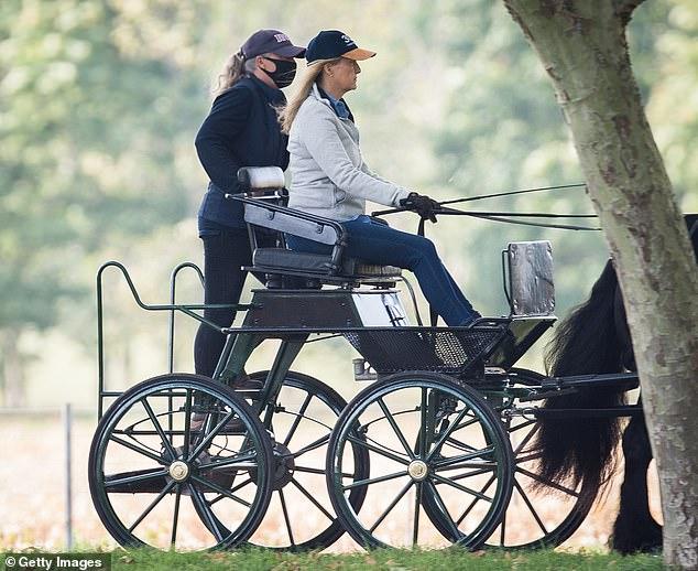 The royal, 55, was without her husband Prince Edward, 56, and children Lady Louise Windsor, 16, and James, Viscount Severn, 12, but was joined by a groom, who donned a facemask in the grounds of the Queen's residence