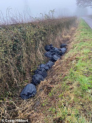 Cannabis growing waste is seen dumped above