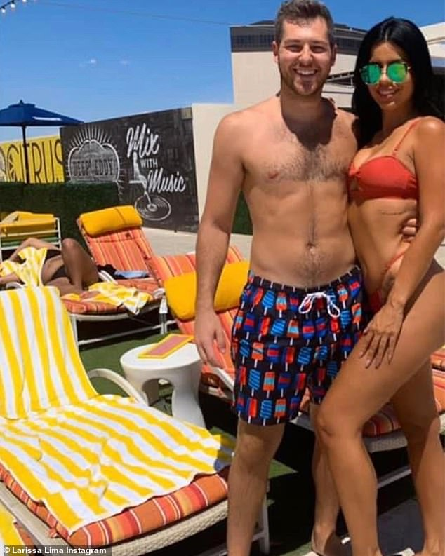 Transformation:In July 2019, she also got butt injections for a Kim Kardashian makeover, according to the Us Weekly as well as a non-surgical nose job; pictured nine weeks ago with boyfriend Eric Nichols