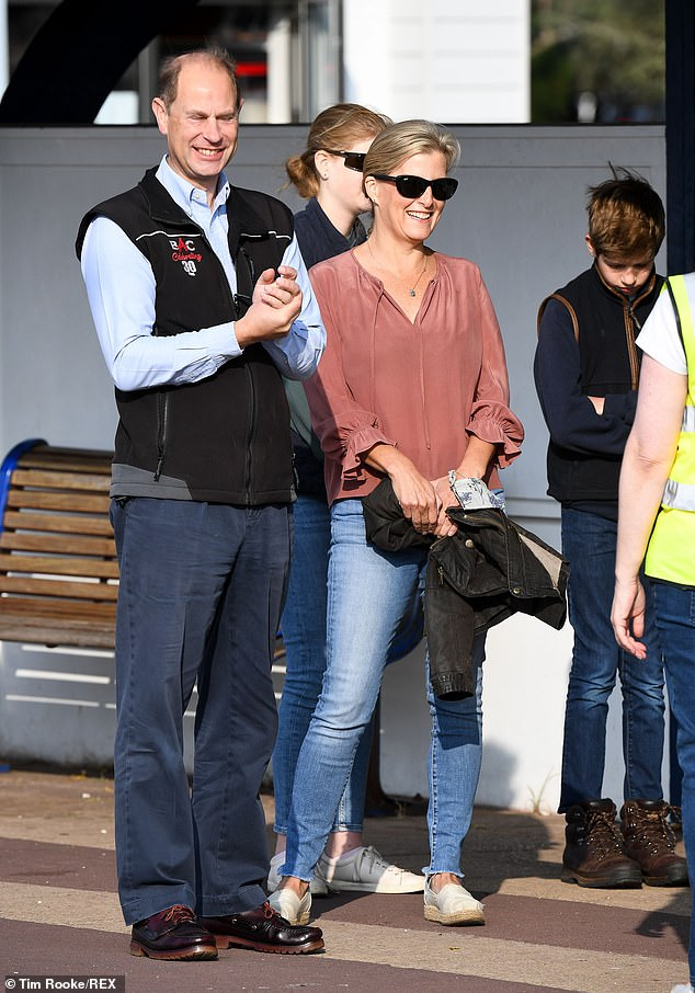 The Countess of Wessex, 55, was joined by her husband Prince Edward, 56, and their two children as they took to a Hampshire beach to pick up litter today