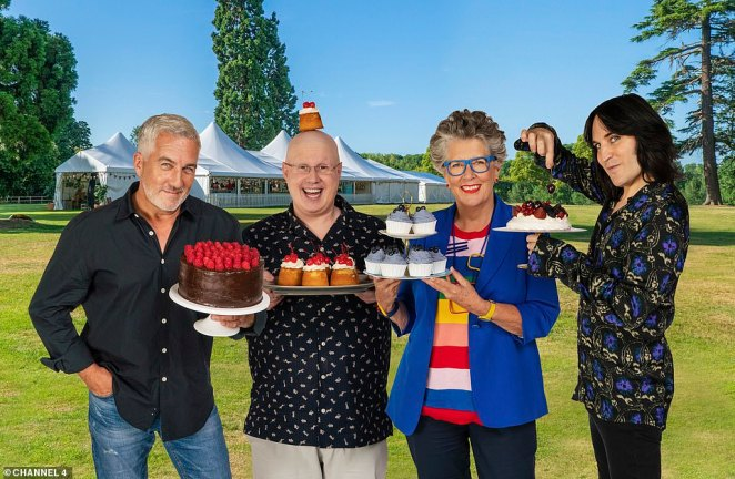 Exciting: The Great British Bake Off 2020 is due to hit screens on September 22 with the 12 home-bakers competing for the prize unveiled last week  with the show overhauling its filming process to adhere to the coronavirus crisis (judges and hosts pictured)