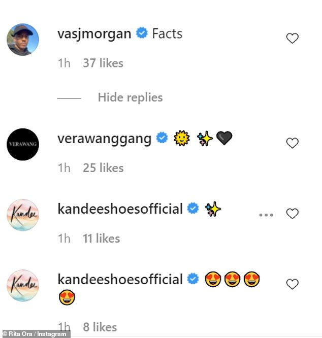 Comments: Her pal and former TOWIE star, Vas J Morgan shared his agreement as he commented: 'Facts' whileVera Wang also shared her support for Rita with a series of emojis