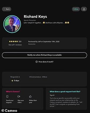 Richard Keys' profile on Cameo