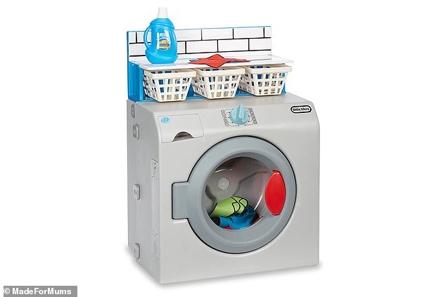The Little Tikes First Washer/Dryer is an interactive toy which features turn dials to hear wash/dry cycle sounds and includes more than 10 laundry accessories
