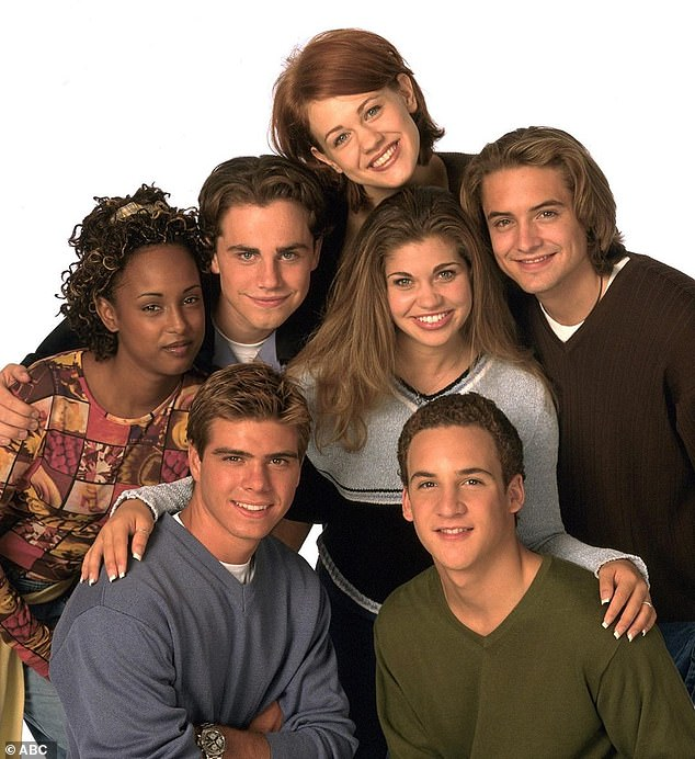 Ward (center top)  starred in two seasons of the  beloved ABC/ Disney sitcom Boy Meets World from 1998 - 2000