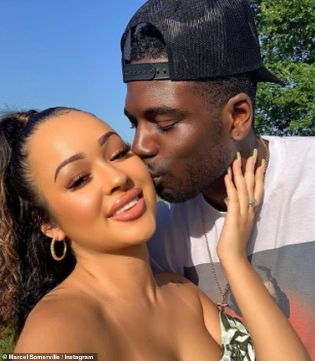 Baby mama: Her ex-boyfriend Marcel Somerville who she met in the 2017 Love Island villa announced earlier this year that he is expecting his first child with his fiancé Rebecca Vieira