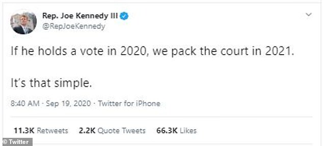 Joe Kennedy III, who represents Massachusetts' 4th Congressional District and is the grandson of Robert F. Kennedy