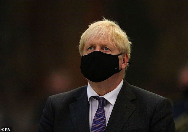 Prime Minister Boris Johnson during a service to mark the 80th anniversary of the Battle of Britain at Westminster Abbey on Sunday