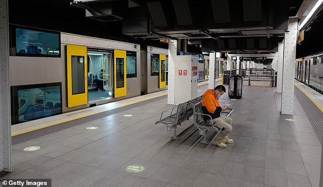 The coronavirus pandemic is expected to cause the steepest plunge in the Australian population since World War I. The federal government's National Housing Finance and Investment Corporation is forecasting Australia's population will shrunk by 0.8 per cent over two years. Pictured is an empty Wynyard station in Sydney