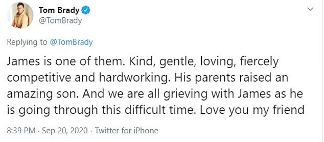 Former Patriot Tom Brady paid his respects to his old teammate and 'great friend' on social media, saying his parents 'raised an amazing son'