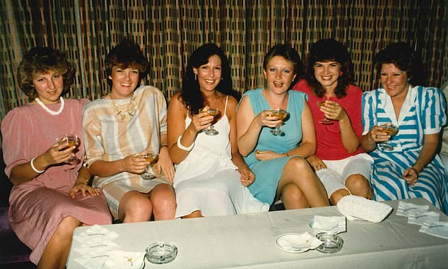 Deborah Wallace was 25 when asked to re-enact the last known movements of murdered nurse Anita Cobby. She lived with her parents not far from where Anita lived with her mum and dad at Blacktown. Wallace is pictured third from left with fellow Blacktown officers on a cruise