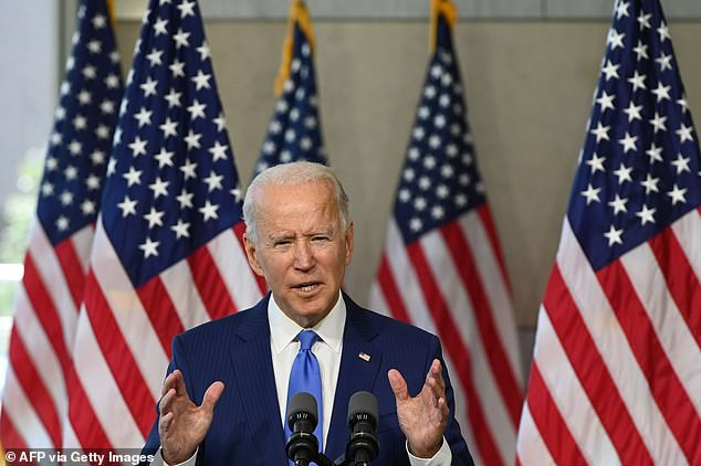 Joe Biden (pictured): 'If Donald Trump has his way, the complications from COVID-19, which are well beyond what they should be - it's estimated that 200 million people have died -- probably by the time I finish this talk'