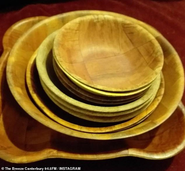 Reminiscing on childhood, dozens shared photos of a set of 1970s wooden bowls (pictured) now synonymous with the kitchens of grandparents and elderly relatives