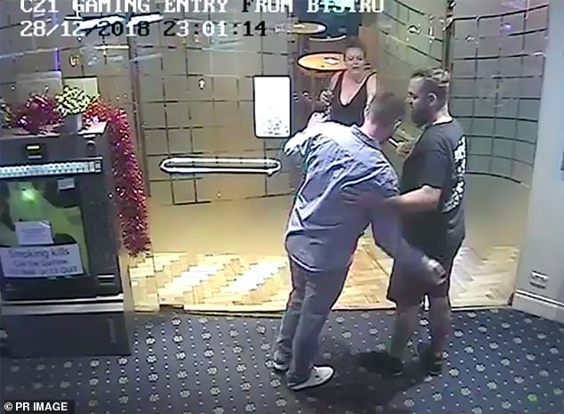 CCTV images of Christopher McLaughlin (blue shirt) leaving the Summer Hill Hotel on December 28, 2018, in the company of neighbour Lucy Lovett and her partner