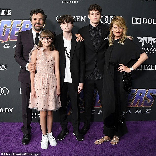2019 family portrait: Ruffalo said his wife of a decade Sunrise Coigney and their three children - Keen, 19; Bella, 15; and Odette, 12 - have taught him 'we are stronger together when we love each other and we respect each other's diversity'