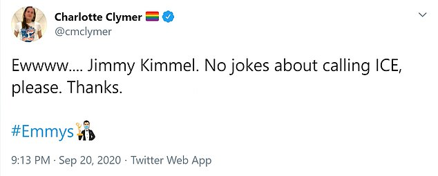 Charlotte Clymer: 'Ewwww…Jimmy Kimmel. No jokes about calling ICE, please. Thanks'
