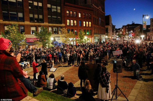 MAINE: Hundreds gathered in Monument Square in Portland to pay tribute to the legal pioneer Sunday night