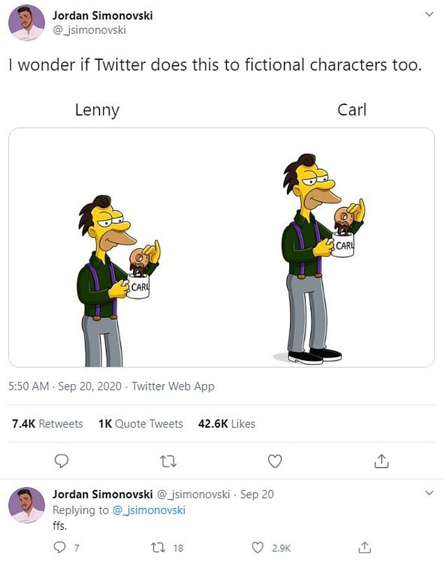 Twitter users created a range of tests to see if the Twitter algorithm was bias. One user even used cartoon characters in the form of Carl and Lenny from The Simpson's (pictured)