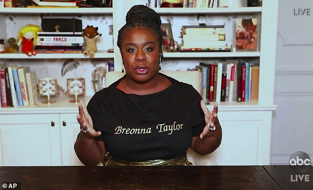 Tribute:Uzo Aduba made a statement at this year's Emmy Awards as she honoured Breonna Taylor , who was shot dead by Louisville Metro Police Department at her home in March
