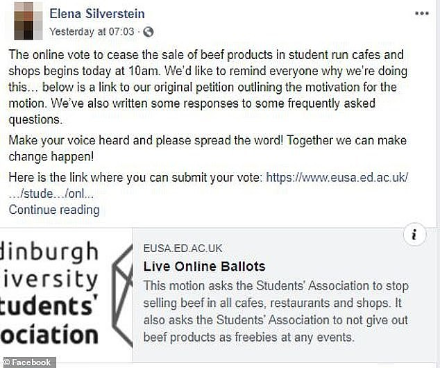 In recent months, beef bans have become increasingly popular at universities (Edinburgh petition pictured)