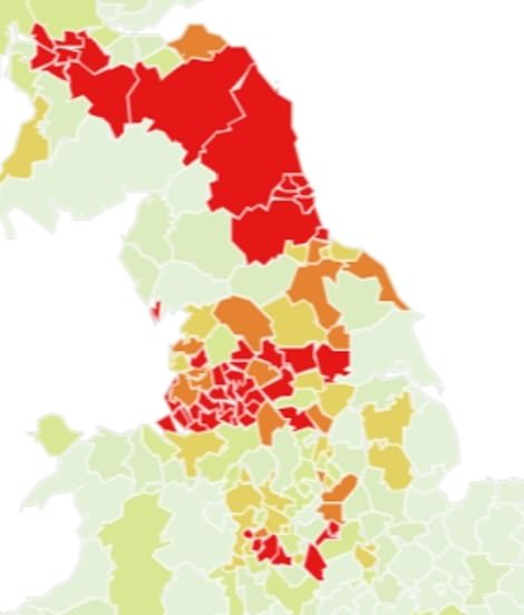 Predictions for this week: The red areas are the most likely to become Covid-19 hotspots, followed by the dark orange