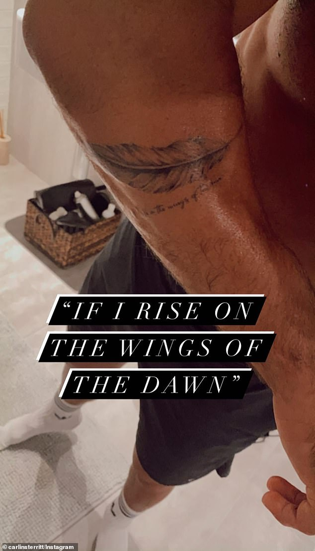 Religious: On Instagram Stories, the fitness strainer showed off a quill with a psalm verse on one forearm. The verse read: 'If I rise on the wings of the dawn'