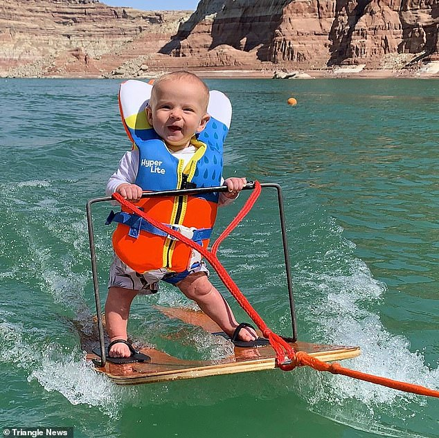Little daredevil! The youngster's parents Casey, 36, and Mindi, 33, shared videos of their son water skiing on Instagram, where they quickly went viral, however not everyone was excited