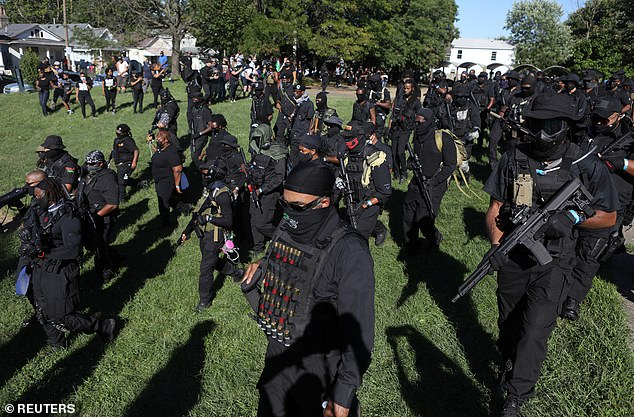 Heavily armed NFAC members march in Kentucky on September 5
