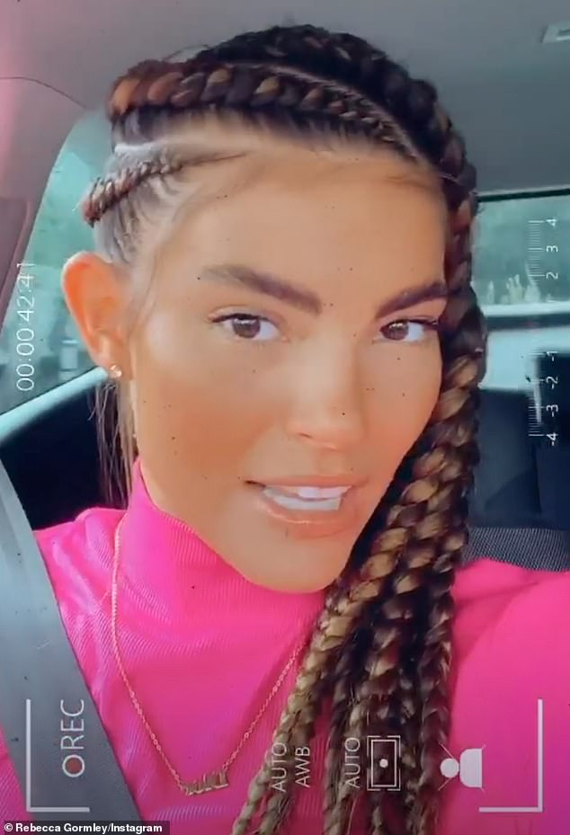 Having her say:Rebecca defended herself after she was criticised for styling her hair in braids, which some of her followers claimed was 'black fishing'