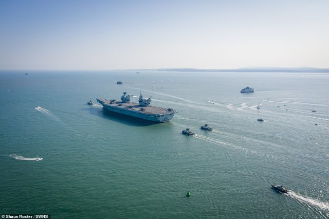 The colossal machine of war heads out into the English Channel on Monday after it was postponed four times due to coronavirus and weather issues
