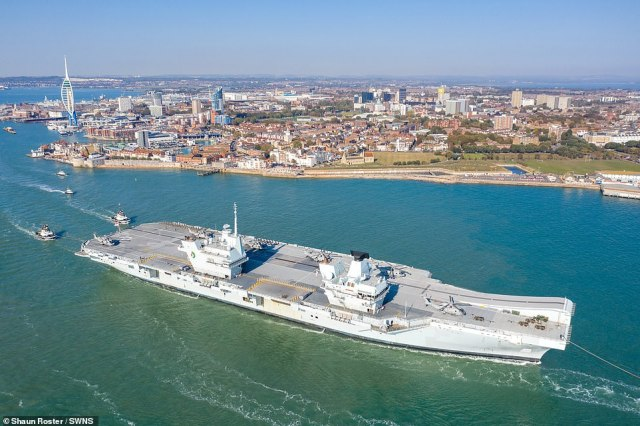 The colossal warship sets sail from Portsmouth today to head up to the North Sea for several weeks to be put through its paces with other vessels and fighter jets before it can get the war-ready seal of approval