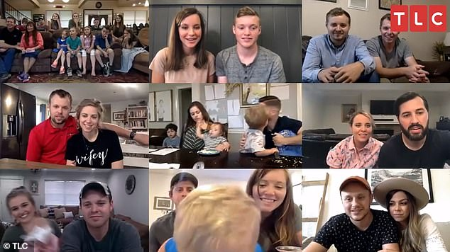 Coming up: The preview clip from tomorrow's episode features a family video call, with most of the Duggars joining from their respective homes