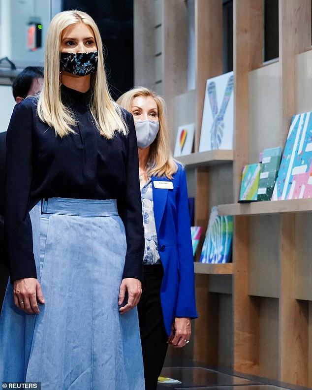 Covered up:Ivanka has faithfully donned a protective face covering for the majority of her public outings, despite her father's wavering stance on masks