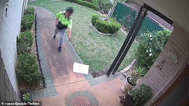 Russell James Noble, who lives in Sydney, shared a video of the careless delivery to Twitter on Monday