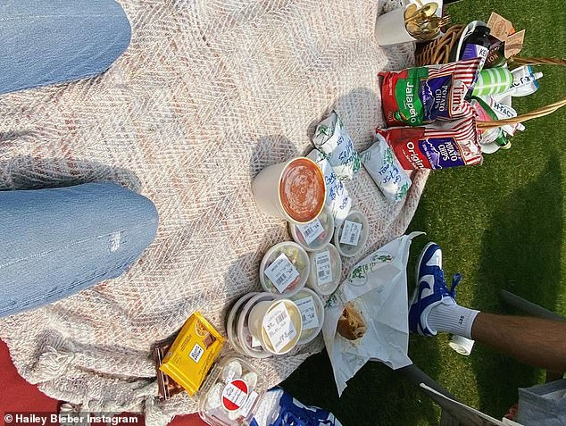 Party time! The Biebers are gearing up to celebrate their official second wedding anniversary following an informal picnic (pictured) to celebrate the day they got their marriage license