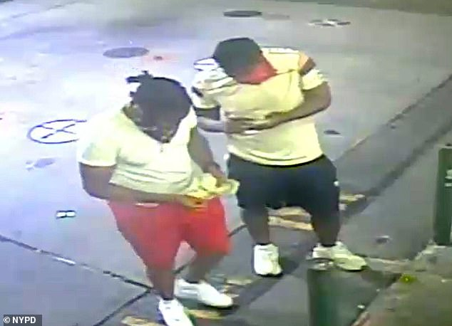 One video showed two men looking at their phones. One of the men's faces was obscured by a bandanna