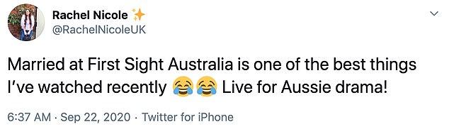 Down Under does it better: Other Twitter users labelled the Australian program as the 'best reality TV' they've ever seen