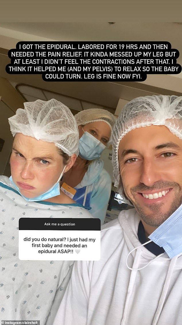 Details: Claire revealed some personal details of the birth including that she had 'back labour' and received and epidural