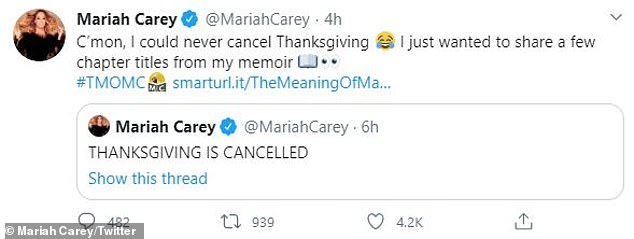 Mariah took to Twitter to reassure everyone that Turkey Day was still a go, and that the phrases were titles from her forthcoming book