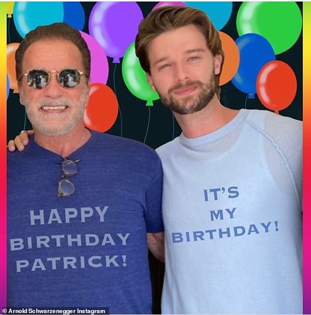 Arnold has the family man in many instances: Like feting older son Patrick's 27th birthday last week; seen on Instagram
