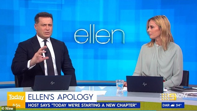 'She took no ownership!' Today show hosts Karl Stefanovic (left) and Allison Langdon (right) have slammed Ellen DeGeneres' apology following allegations that her show harboured a toxic workplace