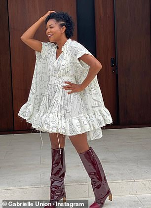 In the photos, Union wears a white patterned mini dress with ruffled hem