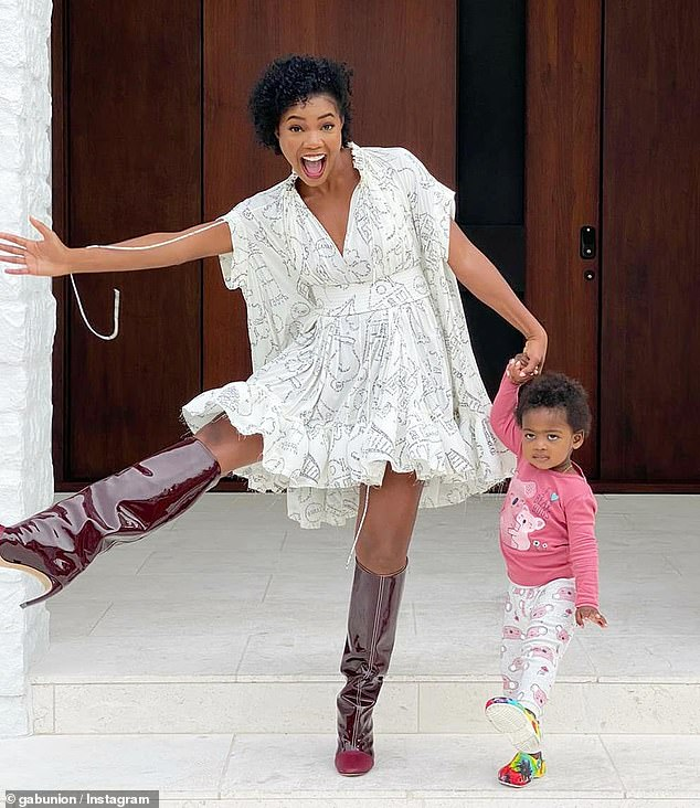 Funny: 'One of us is in her PJs and @crocs and one of us was extra geeked about wearing a flow-y dress so she could wear a full bottom brief,' the actress, 47, shared in the caption