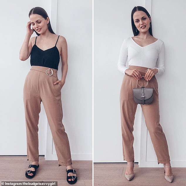 Melbourne stylist Maria, who posts as The Budget Savvy Girl, wears Kmart's $12 Double Buckle Slides (left), which she calls the 'most comfortable' sandals she has ever owned