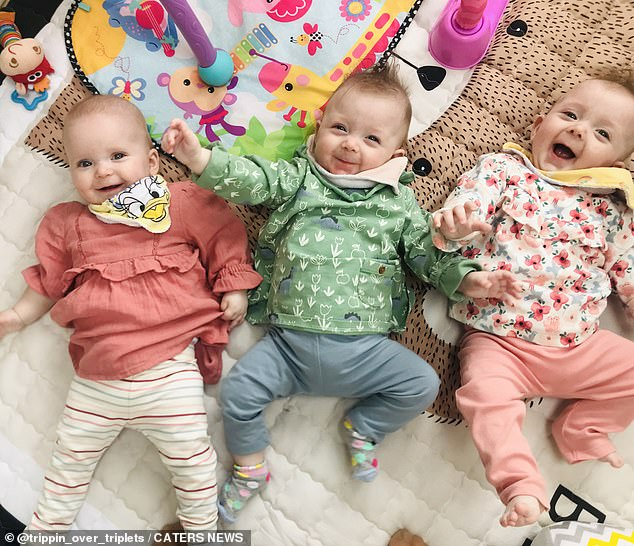 Niamh said she 'broke down in tears' when she learned her dad was giving her money for more IVF. Pictured, the adorable triplets at home