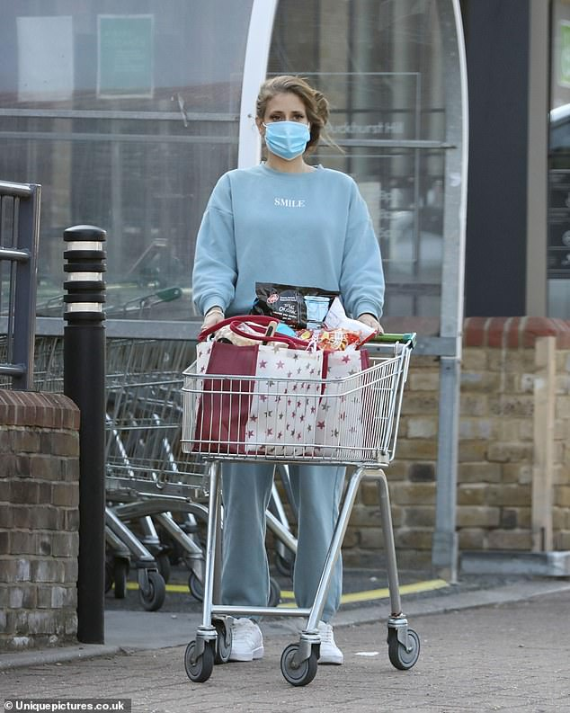 Out and about:Stacey Solomon, 30, cut a casual figure as she and husband Joe Swash, 38, went grocery shopping on Monday
