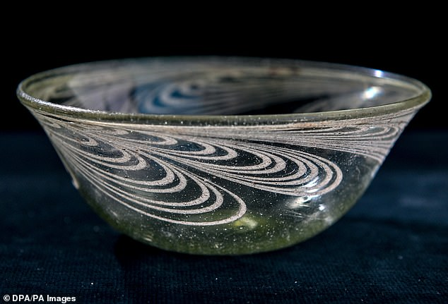 This very well-preserved glass bowl lies in the workshop of the Landesmuseum für Vorgeschichte for further examination. It was among the objects found in a 1,500-year-old tomb alongside 60 undamaged graves of a princely court in modern-day Mansfeld-Südharz